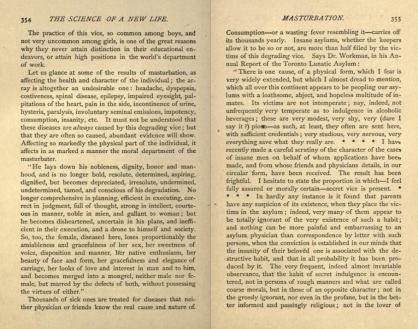 Les conséquences de la masturbation selon Dr. John Cowan, 1875